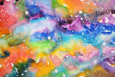 Watercolor galaxy illustration. Raster trendy modern illustration Royalty Free Stock Images