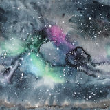 Watercolor galaxy illustration. Seamless pattern. Stock Photo