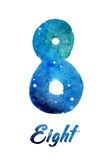"""Watercolor of galaxy or night sky with stars number """"Eight"""" Royalty Free Stock Photography"""