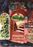 Watercolor garden doors. Drawing on paper Stock Photo