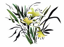 Watercolor garden flowers isolated on white background, Japanese style vector illustration Stock Images