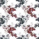 Watercolor garden rowan plant seamless pattern Stock Images