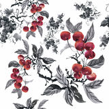 Watercolor garden rowan plant seamless pattern Stock Photo