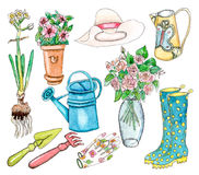Watercolor garden set on white. Watercolor garden set: hat, can, seedle, flowers, garden tools and other - illustration on white Stock Photos