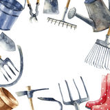 Watercolor garden tools set. Watercolor round frame with hand painted garden tools objects. Sickle, bucket, cutting pliers, flower pot, rakes, hammer, trowel Royalty Free Stock Images