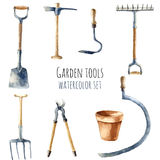 Watercolor garden tools. Royalty Free Stock Photography