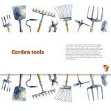 Watercolor garden tools. Stock Photo
