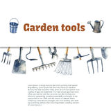 Watercolor garden tools. Stock Photo