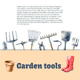 Watercolor garden tools. Royalty Free Stock Images