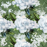 Watercolor gardenia and gypsophila pattern Royalty Free Stock Photo