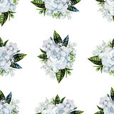 Watercolor gardenia and gypsophila pattern Royalty Free Stock Photos