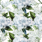 Watercolor gardenia and gypsophila pattern Royalty Free Stock Images