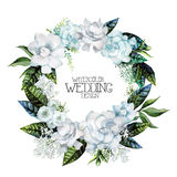 Watercolor gardenia and gypsophila wreath Royalty Free Stock Photos