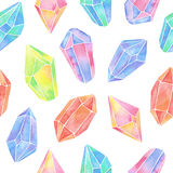 Watercolor gem seamless pattern royalty free illustration