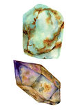 Watercolor gem stones set. Jade turquoise and rauchtopaz stones isolated on white background. For design, prints or. Background stock illustration