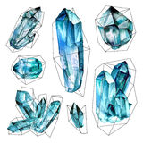 Watercolor Gems collection Royalty Free Stock Photos