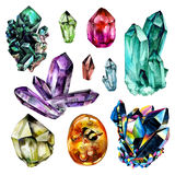 Watercolor Gems collection Royalty Free Stock Image