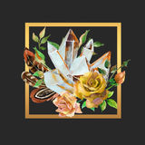 Watercolor gems, feathers and flowers arrangement. Watercolor crystal gems, feathers and flowers arrangement in golden frame. Hand painted illustration with Stock Photography