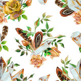 Watercolor gems, feathers and flowers seamless pattern Stock Image