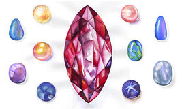 Watercolor gems set Stock Photos