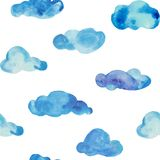 Watercolor gentle clouds in seamless tile for kids wallpaper royalty free illustration