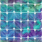 Watercolor geometric pattern with stylized leaves Stock Images
