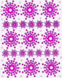 Watercolor Geometric Pink Flowers. Bright pink geometric flowers are surrounded by pink polka dots.  One row shows a large flower and the next row shows a Stock Photography