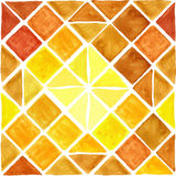 Watercolor geometric rhombus seamless pattern. Brown,Yellow Royalty Free Stock Images