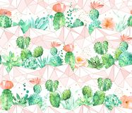 Watercolor geometric seamless pattern background with succulents and cactus in peach and green colors stock photography