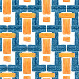 Watercolor geometric seamless pattern. Ethic textile design in blue and yellow color Royalty Free Stock Photography