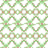 Watercolor geometric seamless pattern with leaves and berries. New Year. Merry Christmas. Celebration illustration. Can. Be use in winter holidays design Stock Image