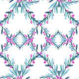 Watercolor geometric seamless pattern with leaves and berries. New Year. Merry Christmas. Celebration illustration. Can. Be use in winter holidays design Royalty Free Stock Image