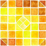 Watercolor geometric square seamless pattern. Brown,Yellow. Watercolor geometric abstract  seamless pattern background .Colorful modern texture.Triangle,rhombus Stock Image