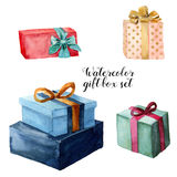 Watercolor gift box set with bow. Hand painted illustration isolated on white background. Party or birthday decor.  Royalty Free Stock Image