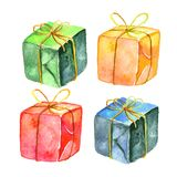 Watercolor gift box set. Hand painted illustration isolated on white background. Party or birthday decor Stock Photo