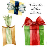 Watercolor gift boxes. Hand painted box with bow isolated on white background. Greeting collection for design or. Background. Party print Stock Photos