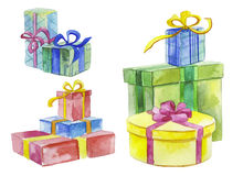 Watercolor gift boxes Stock Images