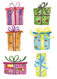 Watercolor gift boxes Royalty Free Stock Photo