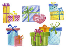 Watercolor gift boxes Royalty Free Stock Image