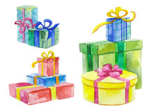 Watercolor gift boxes Royalty Free Stock Images