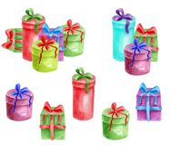 Watercolor gift boxes set. Hand drawn heap of colorful presents with ribbon isolated on white background. Bright boxes