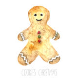 Watercolor gingerbread man. Royalty Free Stock Photo