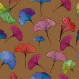 Watercolor ginkgo leaves vector illustration seamless pattern. Watercolor ginkgo leaves vector illustration royalty free illustration