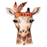 Watercolor giraffe portrait. Cute boho design with feathers. Nursery prints with animals , posters and postcards Stock Photo