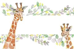 Watercolor giraffes in eucalyptus leaves, painted with a brush, handmade. Mother and child royalty free illustration