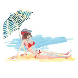 Watercolor girl on the beach Royalty Free Stock Photo