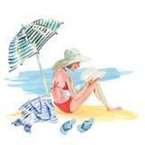 Watercolor girl on the beach Stock Photos