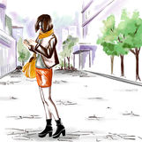 Watercolor girl on the city street Royalty Free Stock Image