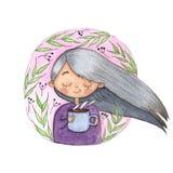 Watercolor Girl with coffee mug stock illustration