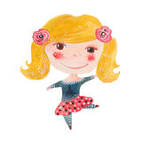 Watercolor girl dancing Royalty Free Stock Image